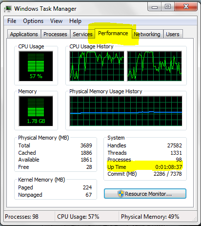 System up-time on windows 7