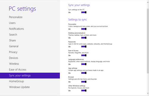 Delete your Windows 8 personal settings from the cloud