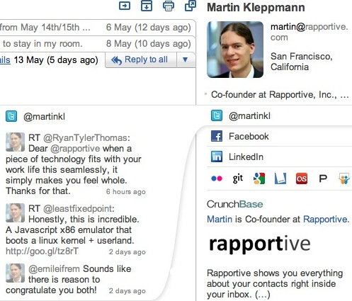 Get closer to your Gmail contacts using Rapportive
