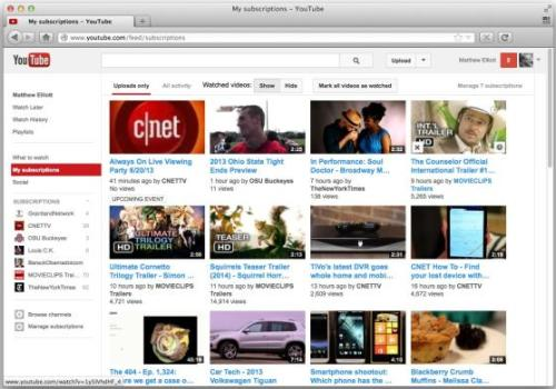 How to retrieve the grid-layout in My subscriptions page-Youtube