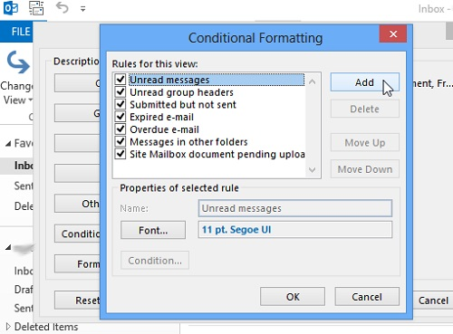 How to modify font size of Message List in Outlook