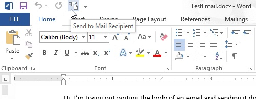How to send a mail using MS Word Doc
