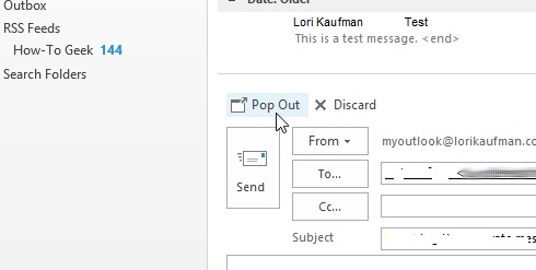 How to manage the Reply window in Outlook 2013