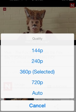 Change Video Quality on YouTube app for iOS